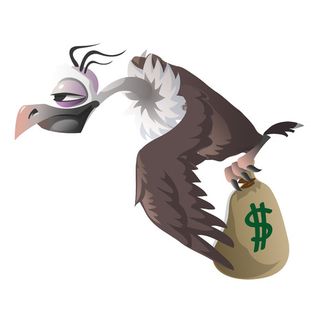 buzzard: Cartoon vulture carries bag with money on a white background