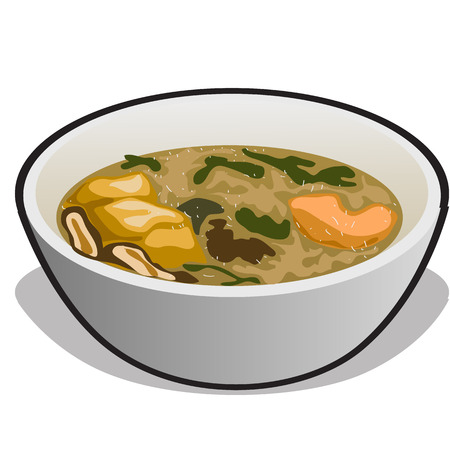 broth: Vector illustration of soup in a white bowl. Isolated vector Illustration