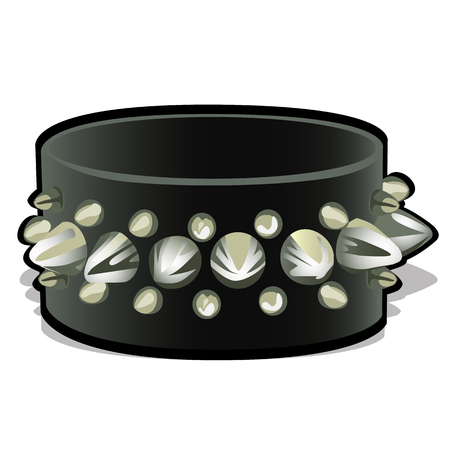 wristband: Black leather wristband with metal spikes. Accessory, symbol of rock Illustration