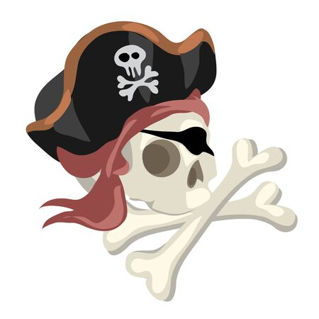 cartoony: Pirate skull in hat and crossed bones, cartoony style image Illustration