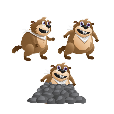 burrow: Three images of the beaver in various poses on a white background Illustration