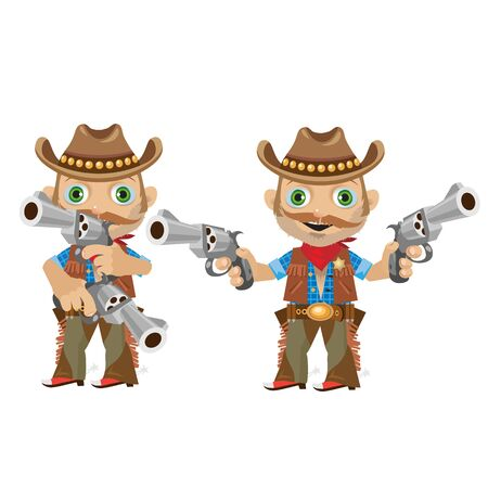 gunman: Cool man with a gun in wild West style. Two image in different poses