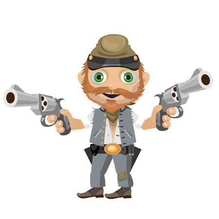 fictional: Cheerful southerner, fictional cartoon character of Wild West Illustration