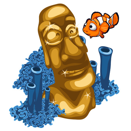 tiki head: Coral reef, clown fish and Golden statue of Maya. Vector composition