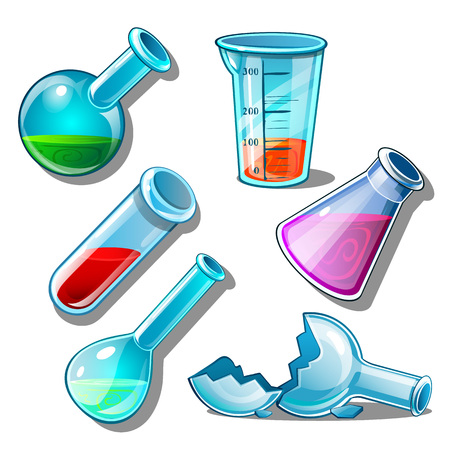 Large set of flasks with liquid and without it. Elements on medicine or chemistry theme Ilustração Vetorial