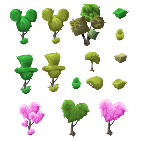 topiary: Big topiary tree set of various forms on a white background