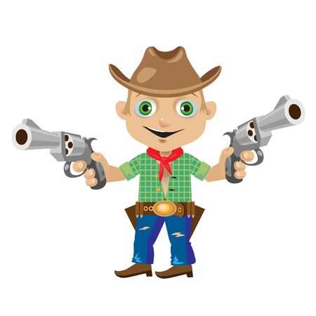 jaunty: Man with two guns in wild West style. Series character