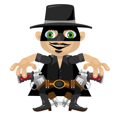 adventure story: Cartoon character in Wild West style, caravan robber in mask
