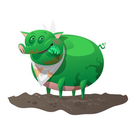 mutant: Green mutant pig has lunch, fictional cartoon character Illustration