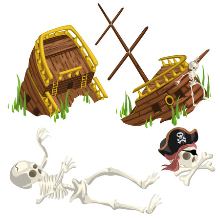 Ancient ruined ship and skeleton pirate, Vector composition on a pirate theme