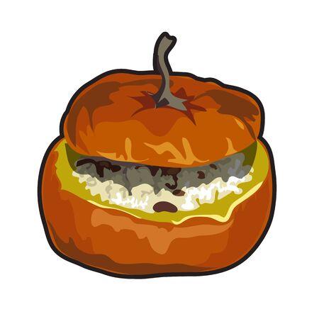 puree: Cooked dish of pumpkin Vector illustration on the theme of pumpkin Illustration