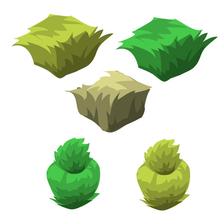 scrub grass: Five icons of the flower beds with grass, topiary set of various forms Illustration