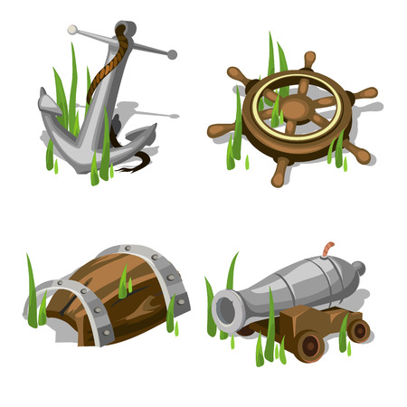 deck cannon: Fragments of the ship, anchor, steering wheel, gun, and wooden barrel Illustration