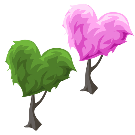 topiary: Two topiary tree in hearts forms, green and pink color on a white background
