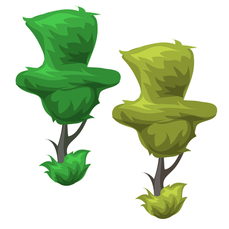 topiary: Funny topiary trees square shape, cartoon style. Vector illustration isolated