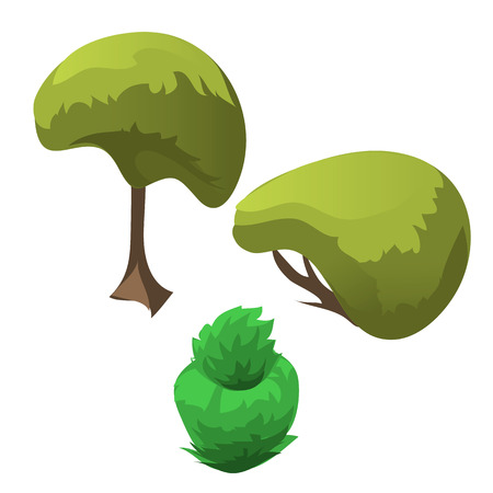 topiary: Topiary tree and fancy flowerbed. three vector icon of plants