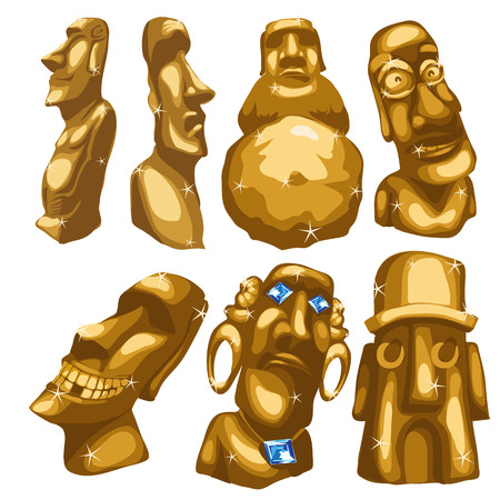 moai: Seven Maya sculptures from gold. Stylized cartoon image of deity