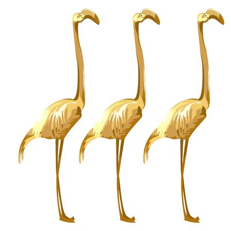 subtropics: Three Golden birds flamingos on a white background. Vector illustration