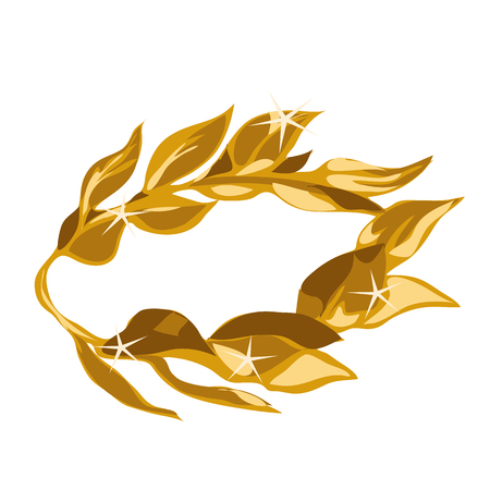 laurel leaf: Vector illustration of a gold laurel wreath award. Ornate leaf sections on a white background. Illustration