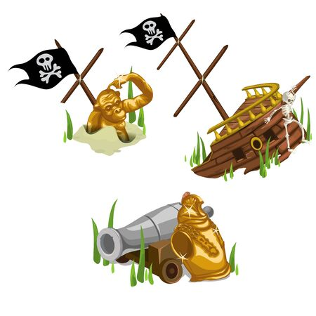 remains: Remains of the ship, golden monkey, skeleton and gun, Vector composition