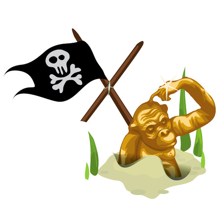 primate biology: Golden monkey in sand and mast with pirate flag, isolated vector composition