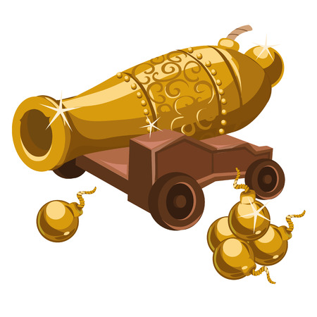 armory: Golden gun with ornament on a wooden stand, armory vector series