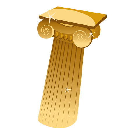 antiquities: Golden Greek single column in cartoon style, historical series vector objects