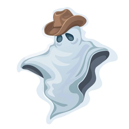 wraith: Classic white sad Ghost in a cowboy hat, Halloween character