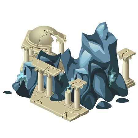 Wreckage de la structure grecque et la formation de la roche, la composition de vecteur sur un thème grec