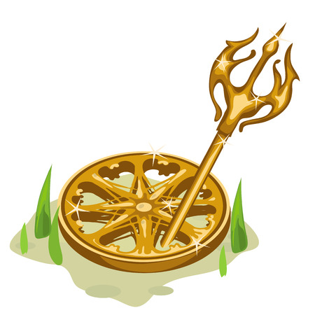 wheel guard: Golden wheel and Trident in the grass and sand. Vector composition on a Greek theme