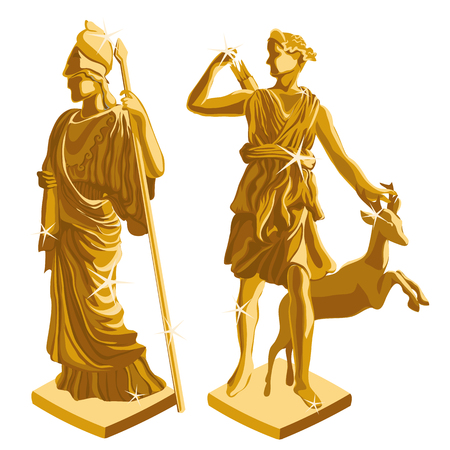 ancient civilization: wo Greek Golden statues of warrior and shepherd, vector illustration Illustration