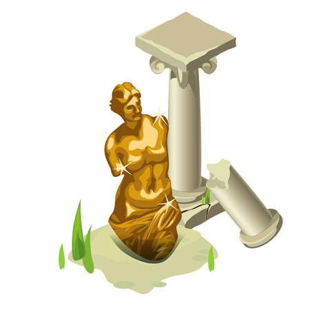 folktale: Greek gold statue and a ruined column, vector composition on a Greek theme
