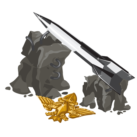 launcher: Rocket launcher and Golden insignia, vector series illustration on the military theme Illustration