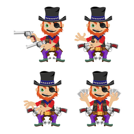 brigand: One-eyed bandit with guns, character in four poses for animation