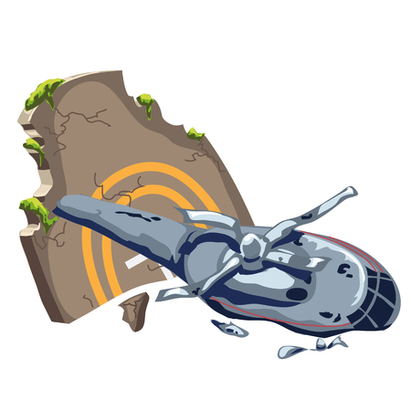 airman: Crashed helicopter and tombstone, vector composition Illustration