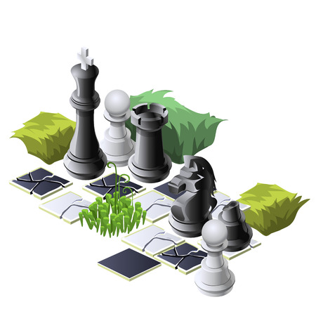 Chess pieces and plants, decorative vector composition Vettoriali
