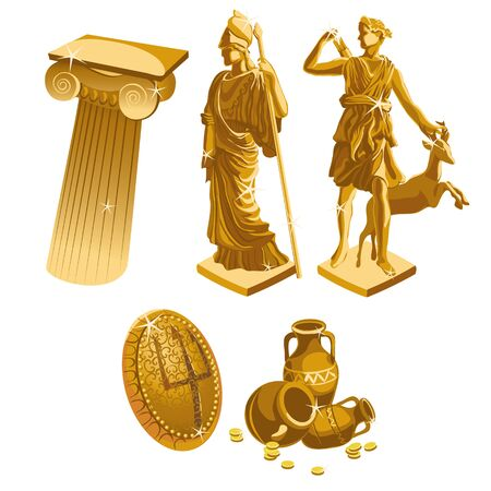 greek coins: Greek Golden statues, column, shield and jugs, big vector set Illustration