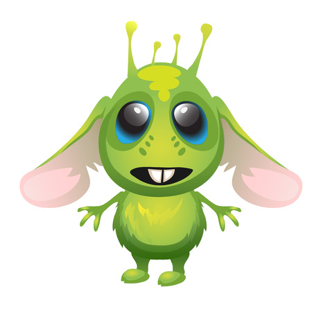 fictitious: Cute long-eared green alien, vector character isolated