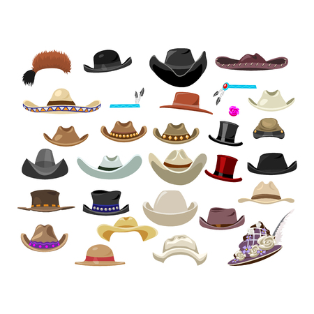 aristocratic: Large set of 29 vintage hats, Western, aristocratic, fashion style