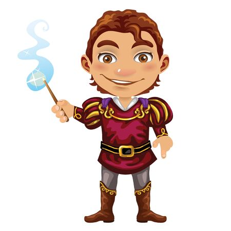 fashion story: Cute fairy Prince with magic wand, vector image on white background Illustration