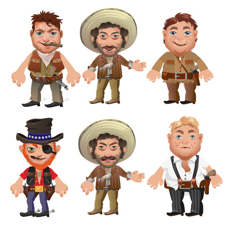 american stories: Five men characters in a cartoon wild West style, vector characters for animation, games and other design needs