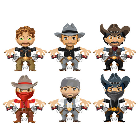 american stories: Six men characters in a cartoon wild West style, vector characters for animation, games and other design needs
