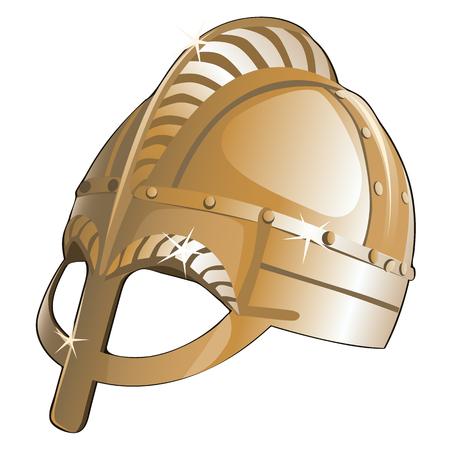 sparta: Ancient metal helmet from Sparta. Vector illustration