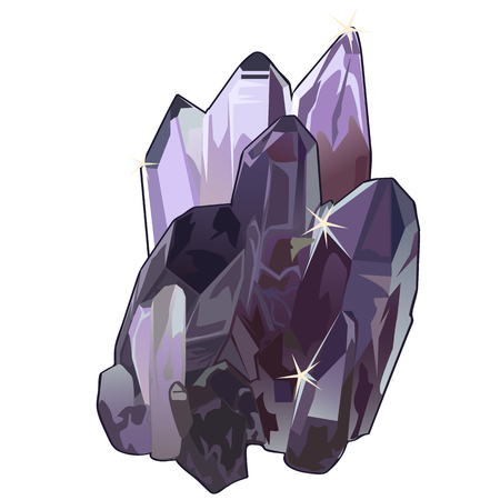 Purple crystal gem stone closeup, cartoon style