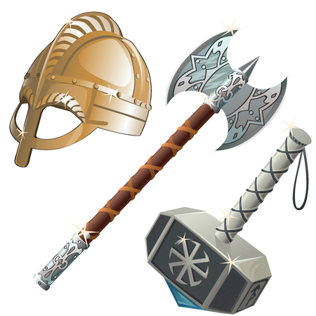 asgard: Historical and mythical weapons, axe, hammer and helmet. Three vector object Illustration