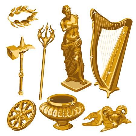 antiquity: Harp, monument, weapons, and other golden items of antiquity