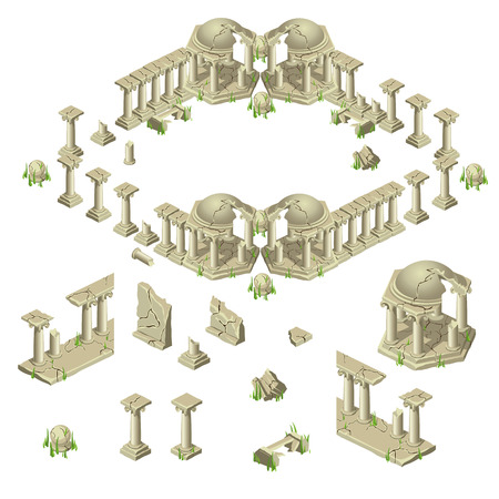 ancient civilization: Ruins of the city in ancient Greek style, big set of different objects