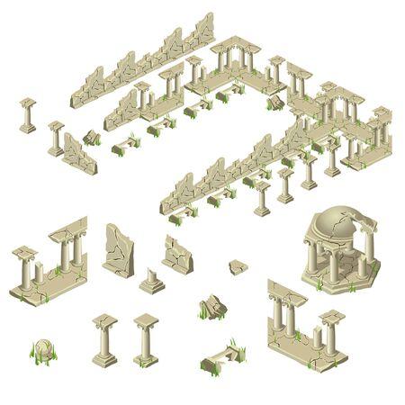 Ruinas de la muralla de ladrillos, columnas y miradores, gran conjunto de vectores de diferentes objetos