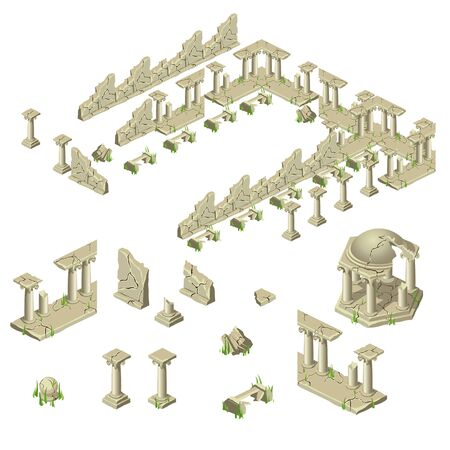 Ruins of the city walls of bricks, columns and gazebos, big vector set of different objects Illustration