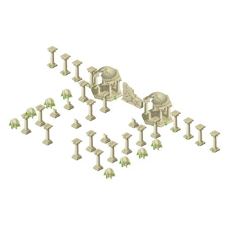 locations: Ancient ruins for locations and other design needs, big vector set of different objects